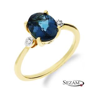 Złoty pierścionek zaręczynowy topaz London z diamentami KU 100916 LBT próba 585