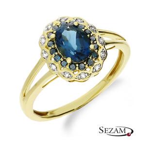 Złoty pierścionek zaręczynowy topaz london z diamentami motyw Markiza  KU 6057-2300 LBTBL próba 585