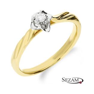Złoty pierścionek zaręczynowy z diamentem UNICO Magic KU 91 próba 585