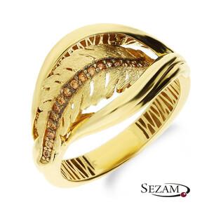 Złoty pierścionek liść cyrkonie szampańskie OP051 próba 585