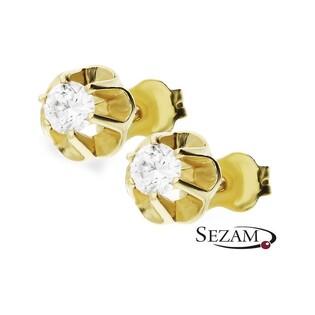 Kolczyki złote z cyrkonią na sztyft nr AR 6042-FCZ GS Au 333 Sezam - 1