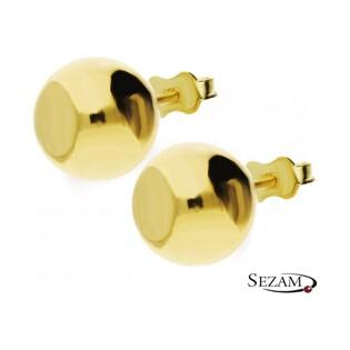 Kolczyki złote kulki gładkie na sztyft nr MZ E7-9mm-Ball próba 333