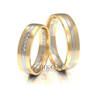 Obrączki ślubne dwukolorowe z kamieniami nr ZI X-040 Sezam - 1