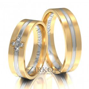 Obrączki ślubne dwukolorowe z kamieniami nr ZI X-049 Sezam - 1