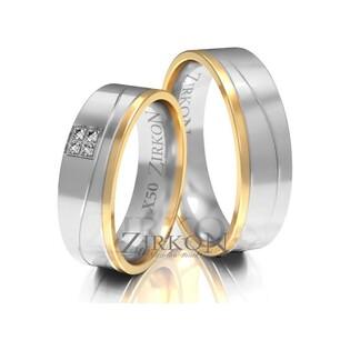 Obrączki ślubne dwukolorowe z kamieniami nr ZI X-050 Sezam - 1