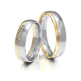Obrączki ślubne dwukolorowe z kamieniami nr ZI X-051 Sezam - 1