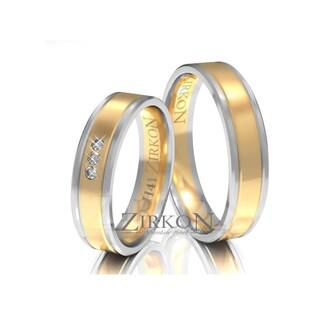 Obrączki ślubne dwukolorowe z kamieniami nr ZI H-041 Sezam - 1