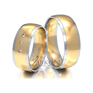 Obrączki ślubne dwukolorowe z kamieniami nr ZI H-026 Sezam - 1