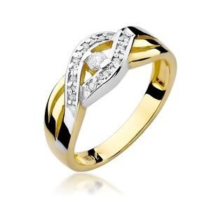 Pierścionek złoty, zaręczynowy, z brylantem numer W-083 Braid bis