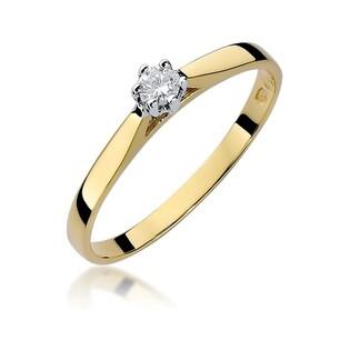 Pierścionek zaręczynowy z diamentem nr BE W-311 próba 585 Soliter
