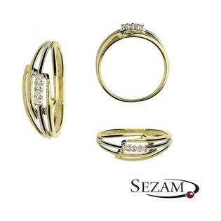 Pierścionek złoty z diamentami LINE nr BU 536720 złoto 375