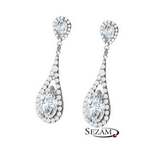 Srebrne kolczyki wiszące GRACE z kryształami Swarovski RD 742-1 crystal próba 925 Sezam - 1