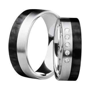 Obrączki karbonowe ze srebrem i 5 diamentami nr SW SRC6-6