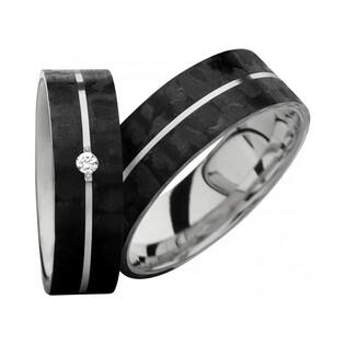 Obrączki karbonowe ze srebrem i diamentami nr SW SRC4-6