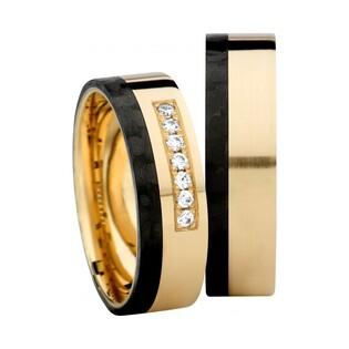 Obrączki karbonowe z żółtym złotem próby 585 (14 karat) i 7 diamentami nr SW GC5-6