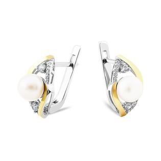 Srebrne kolczyki z perłą i cyrkoniami PX 785_AU375
