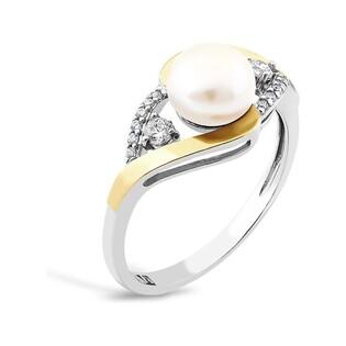 Srebrny pierścionek z perłą i cyrkoniami PX 785_AU375