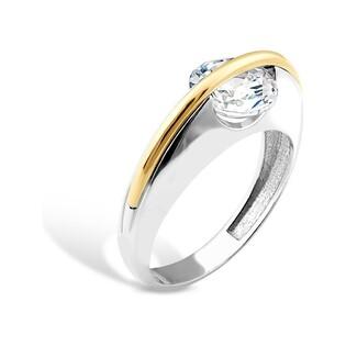 Srebrny pierścionek z cyrkonią w półkółku AG PX 479_AU375