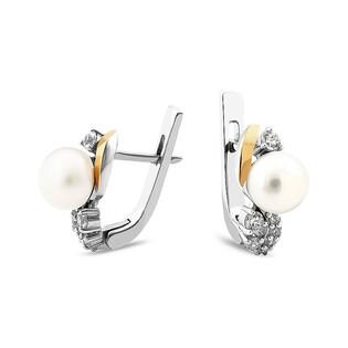 Srebrne kolczyki z perłą + zawijas z cyrkonii PX 784_AU375
