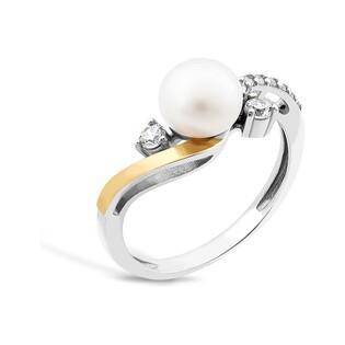 Srebrny pierścionek z perłą + zawijas z cyrkonii PX 784_AU375