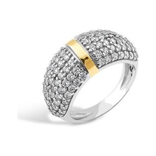 Srebrny pierścionek kopuła z cyrkoniami PX 169_AU375