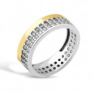Srebrny pierścionek LINE + blaszka PX 158_AU375