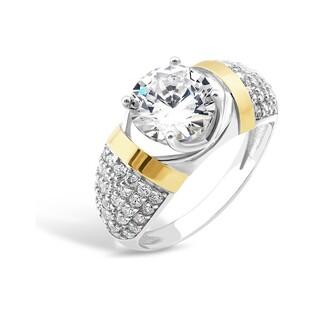 Pierścionek kopuła cyr.+cyrkonia d.4ł PX 164_AU375 blaszka gold