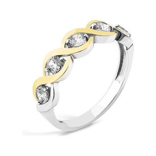 Srebrny pierścionek warkocz z cyrkoniami PX 723_AU375