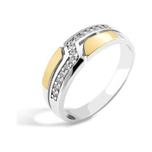 Srebrny pierścionek obrączkowy z cyrkoniami PX 165_AU375