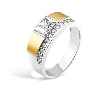 Srebrny pierścionek prostokąt z cyrkoniami PX 047_AU375