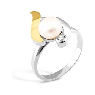 Srebrny pierścionek z perłą i cyrkonią PX 019_AU375