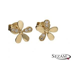 Kolczyki złote kwiatki  cyrkonie nr MZ ES287-CZ Au 333