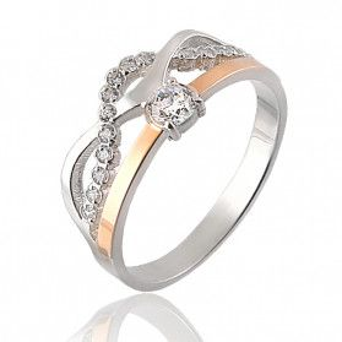 Srebrny pierścionek soliter + fala DC 292_AU375