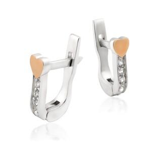 Srebrne kolczyki przecinki z cyrkoniami i złotym sercem DC 550_AU375