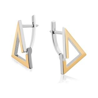 Srebrne kolczyki trójkąt 3D ramka DC 416_AU375