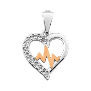 Zawieszka srebrna w kształcie serca z złotym pulsem DC 640_AU375