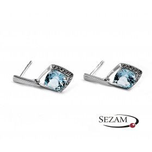 Kolczyki z topazem blue i diamentami/sztyft nr BU 350337-320325 romb b.złoto próba 375