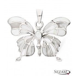 Zawieszka srebrna motyl z masą perłową białą nr NI XX19 B próba 925