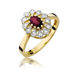 Pierścionek zaręczynowy z rubinem i diamentami nr BE W-354 rubin KATE próba 585