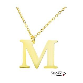Naszyjnik srebrny pozłacany literka M nr. AT204-M GOLD próba 925