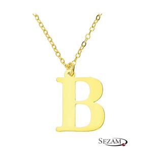 Naszyjnik srebrny pozłacany literka B nr. AT204-B GOLD próba 925