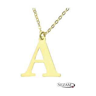 Naszyjnik srebrny pozłacany literka A nr. AT204-A GOLD próba 925