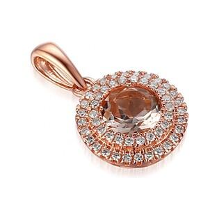 Zawieszka złota z diamentami i morganitem numer AW 57736 R-Mo okr.Markiza 2r