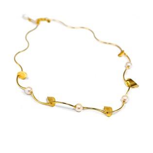 Naszyjnik złoty z kolekcji Laurel z białą perłą nr FL 26206 Au 585