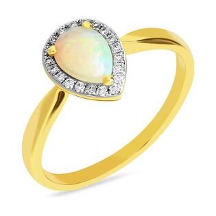 Pierścionek zaręczynowy z białym opalem w towarzystwie diamentów nr AW 50991
