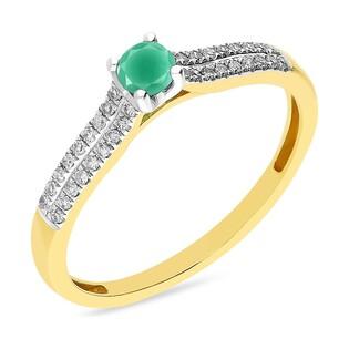 Pierścionek zaręczynowy ze szmaragdem i diamentami nr AW 30607 YW-EM okr.Line 2r próba 585