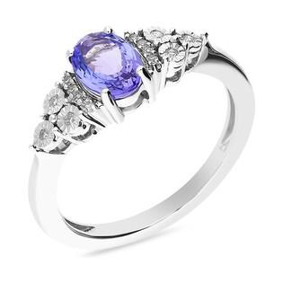 Pierścionek zaręczynowy z tanzanitem i diamentami nr KU 4163 TNZ owal b.złoto próba 585 LAUREL