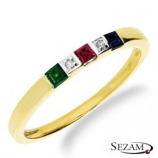 Pierścionek zaręczynowy z diamentami i kamieniami naturalnymi RS RSV0220
