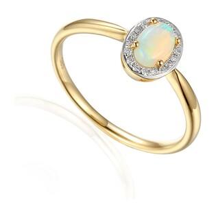 Pierścionek zaręczynowy z diamentami i opalem białym AW 57117 Y Markiza próba 585 MARKIZA