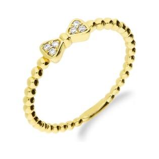 Pierścionek złoty RINGS-0,04ct kokardka nr AW 61161 Y próba 585 RINGS